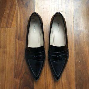 Zara Basic Antik Penny Loafers Black Sz 39